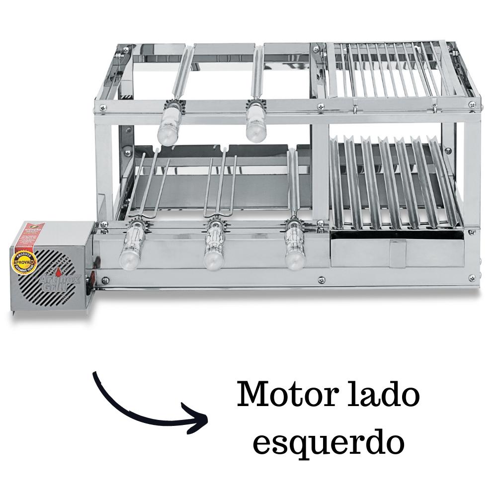 Churrasqueira Elétrica Giratória Inox 5 Espetos Modelo Conjugada 2A Mot Esquerdo