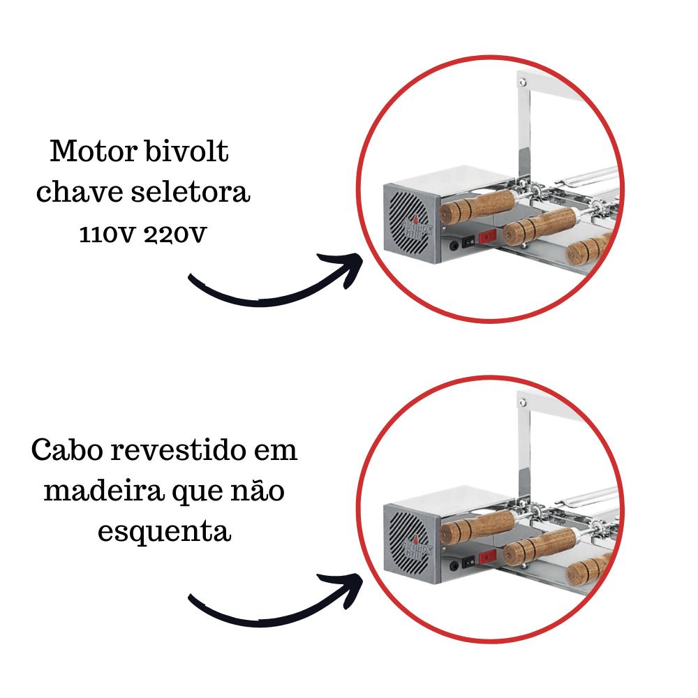Churrasqueira Elétrica Giratória de Inox 4 Espetos - Madeira