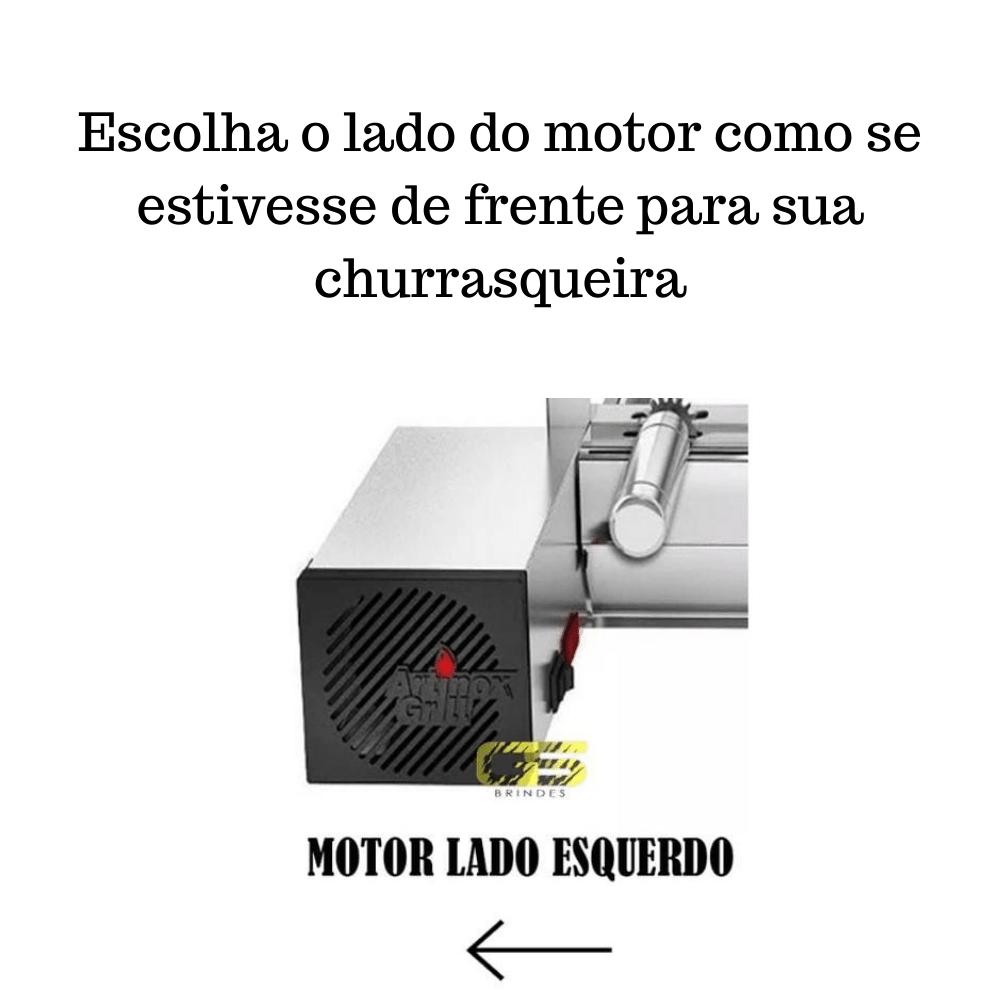 Churrasqueira Elétrica Giratória de Inox 5 Espetos - Madeira