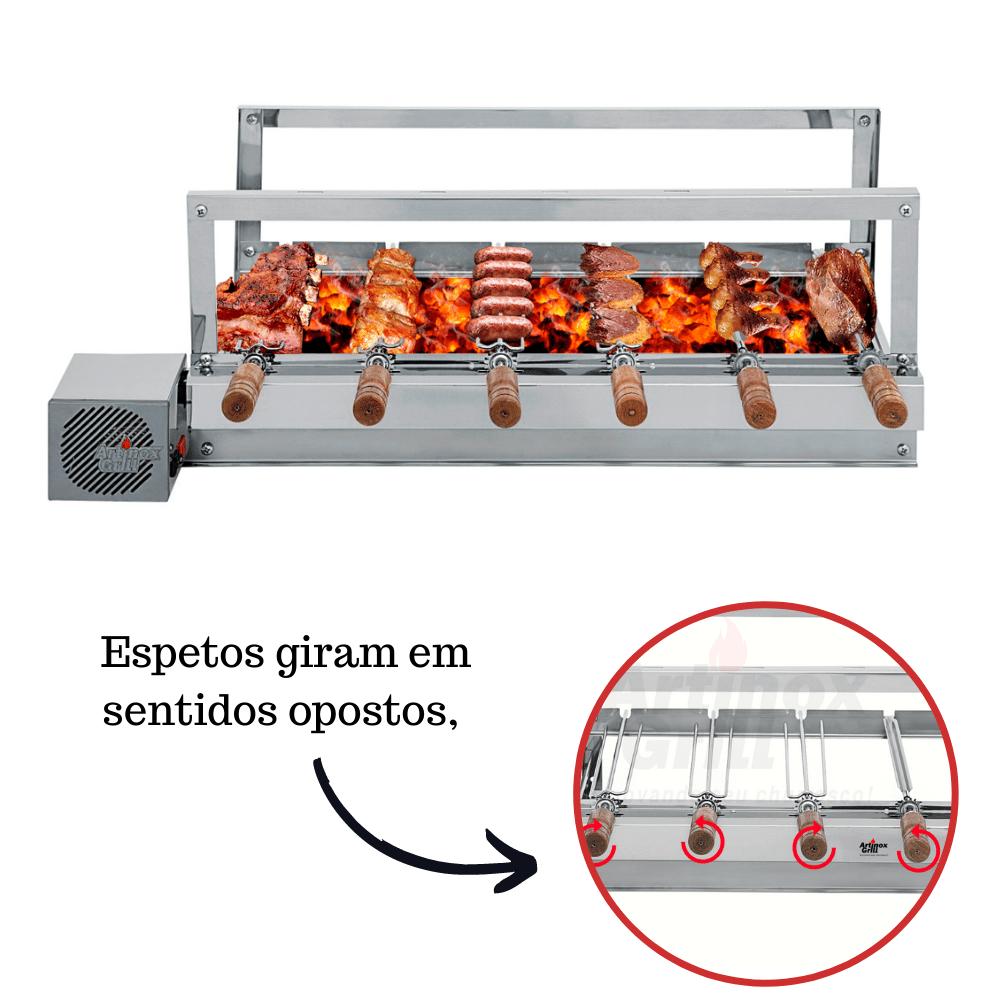 Churrasqueira Elétrica Giratória de Inox 6 Espetos - Madeira