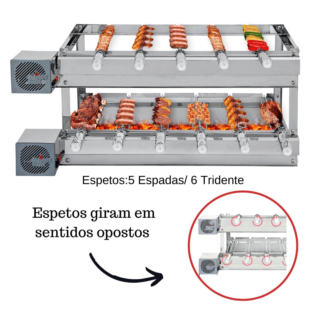Churrasqueira Elétrica Giratória Inox 11 Espetos Modelo 2A Mot Esquerdo