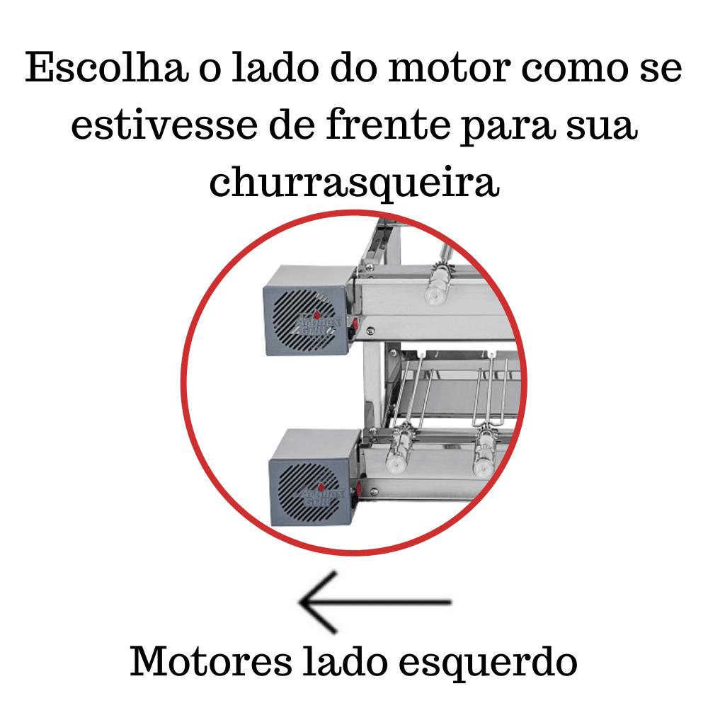 Churrasqueira Elétrica Giratória Inox 13 Espetos Modelo Especial 2A/2M Mot Esquerdo