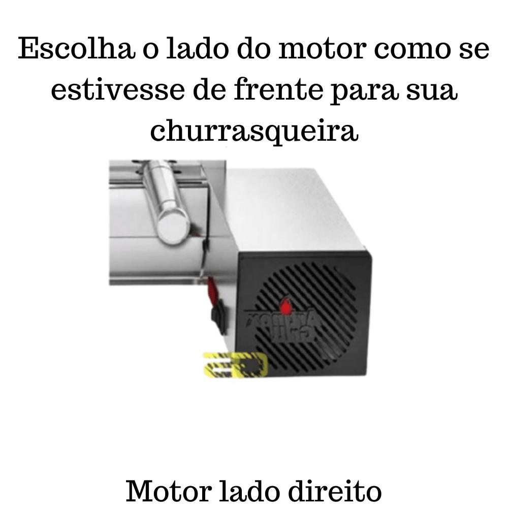 Churrasqueira Elétrica Giratória Inox 13 Espetos Modelo Especial 3A/1M Mot Direito