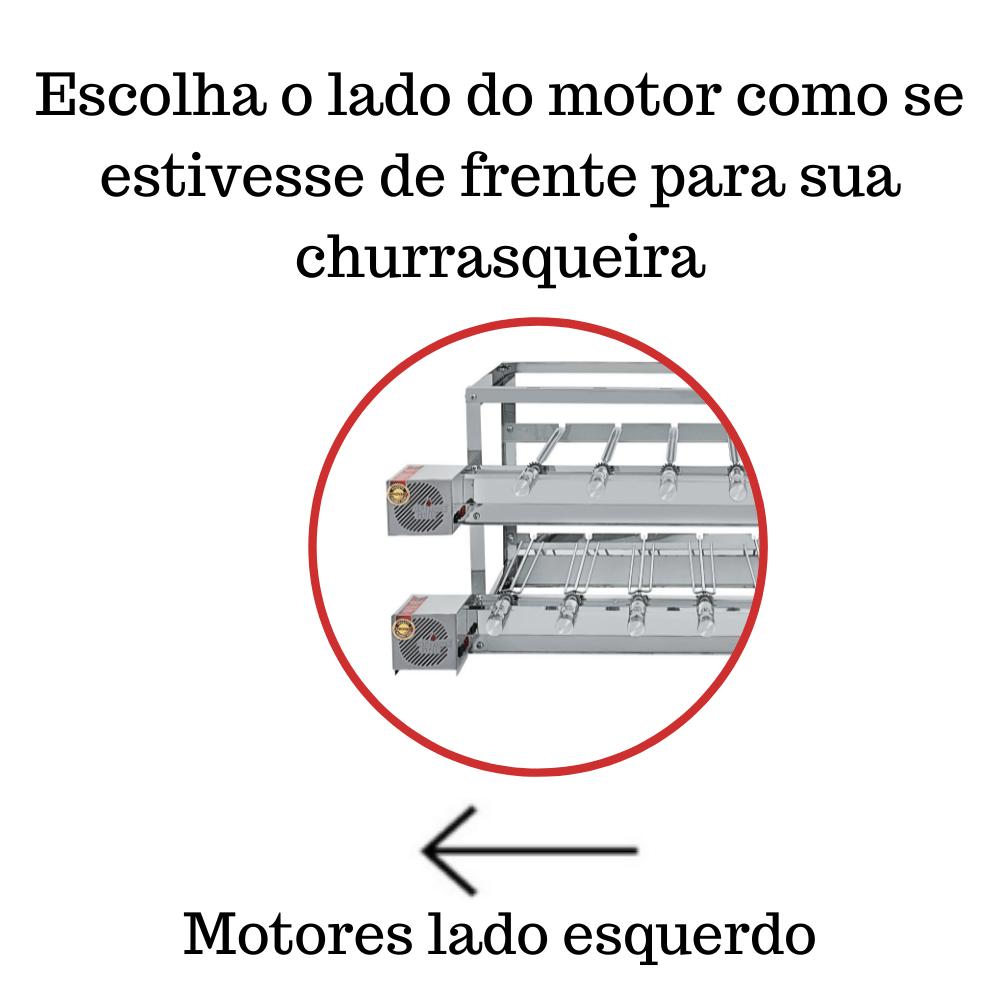 Churrasqueira Elétrica Giratória Inox 13 Espetos Modelo Especial 3A/2M Mot Esquerdo