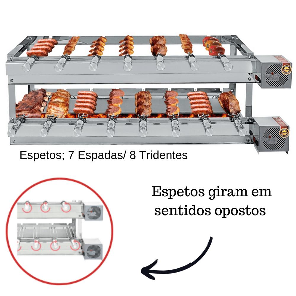 Churrasqueira Elétrica Giratória Inox 15 Espetos Modelo Especial 2A/2M Mot Direito
