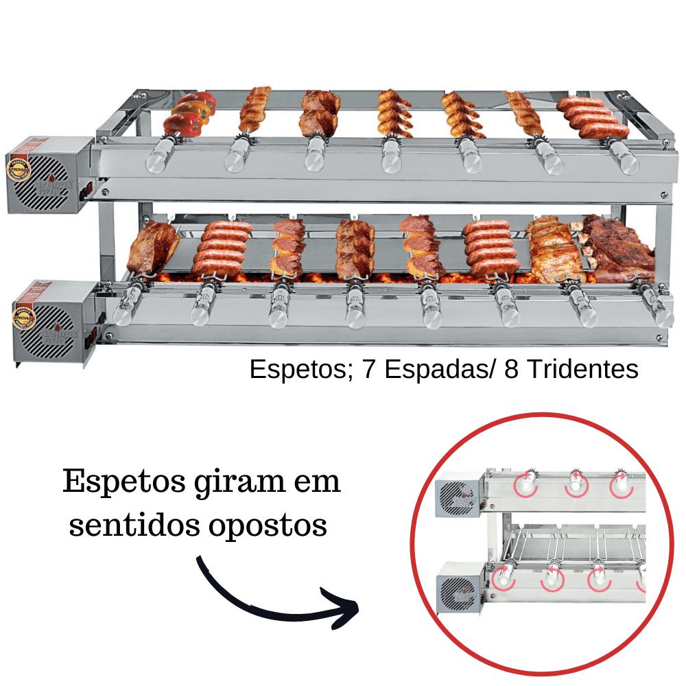 Churrasqueira Elétrica Giratória Inox 15 Espetos Modelo Especial 2A/2M Mot Esquerdo