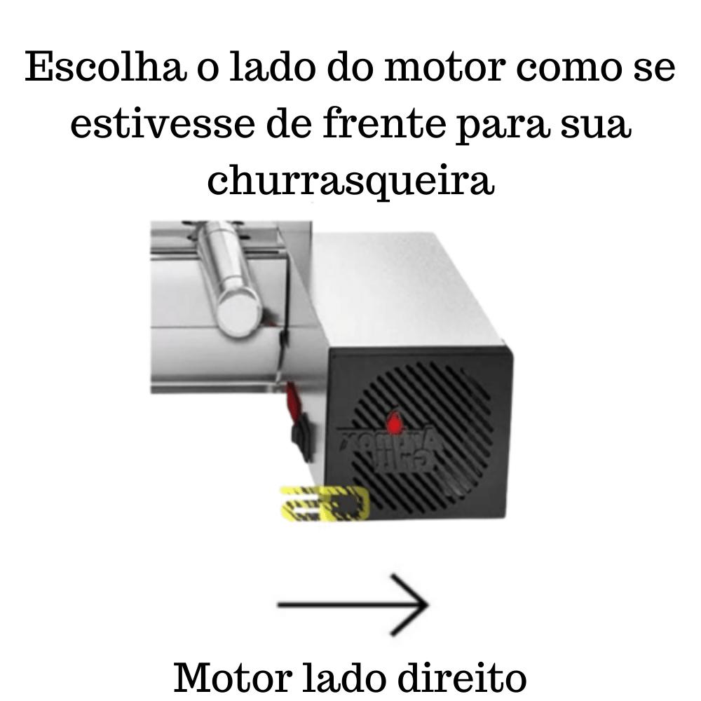 Churrasqueira Elétrica Giratória Inox 15 Espetos Modelo Especial 3A/1M Mot Direito