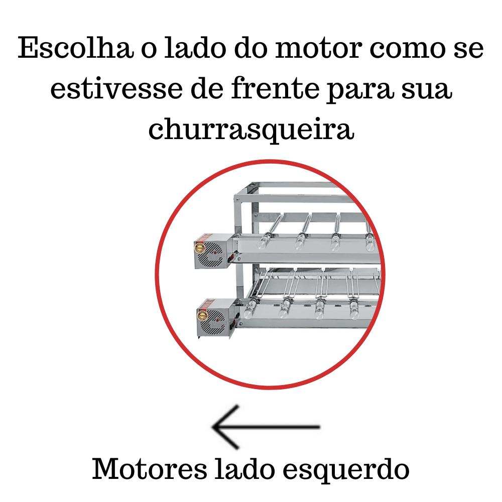 Churrasqueira Elétrica Giratória Inox 15 Espetos Modelo Especial 3A/2M Mot Esquerdo