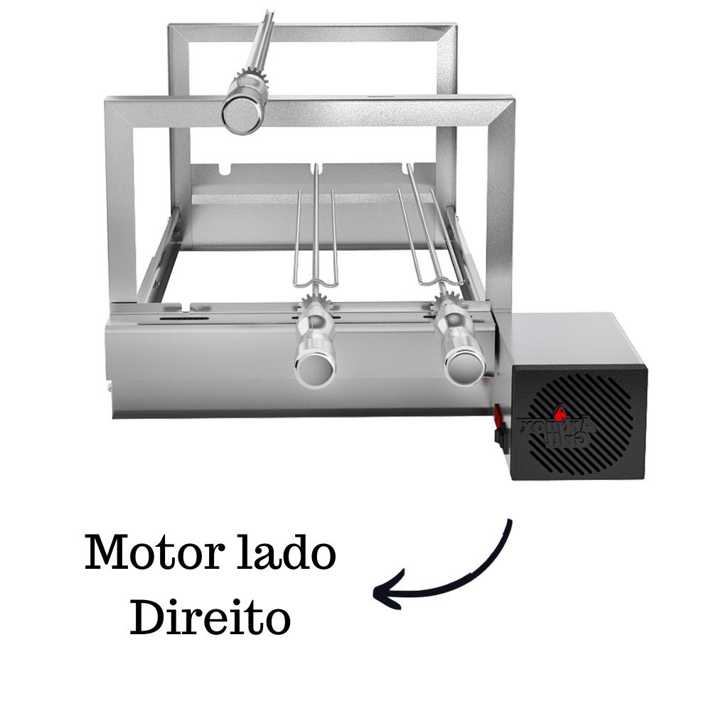 Churrasqueira Elétrica Giratória Inox 3 Espetos Modelo AG/R Mot Direito