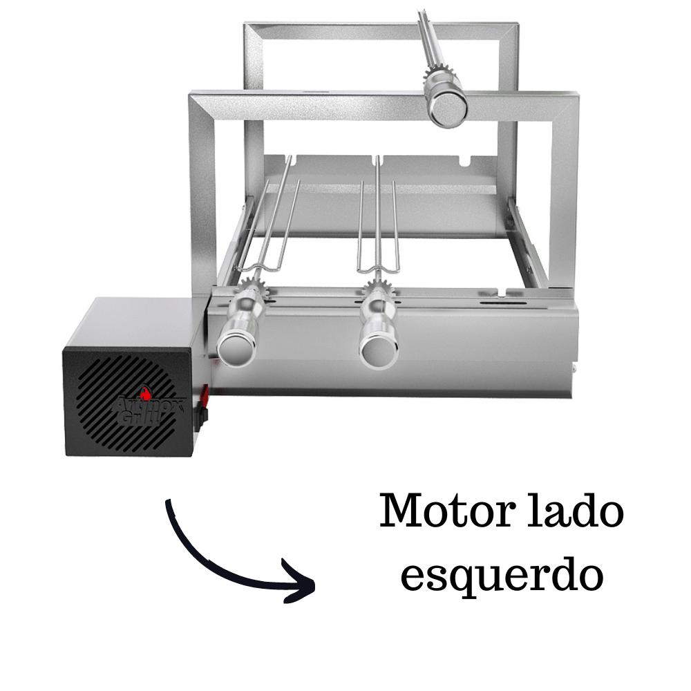 Churrasqueira Elétrica Giratória Inox 3 Espetos Modelo AG/R Mot Esquerdo