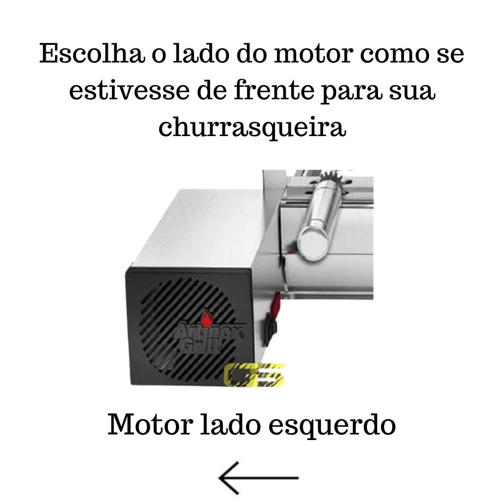 Churrasqueira Elétrica Giratória Inox 4 Espetos Cabo Alum Mot Esquerdo