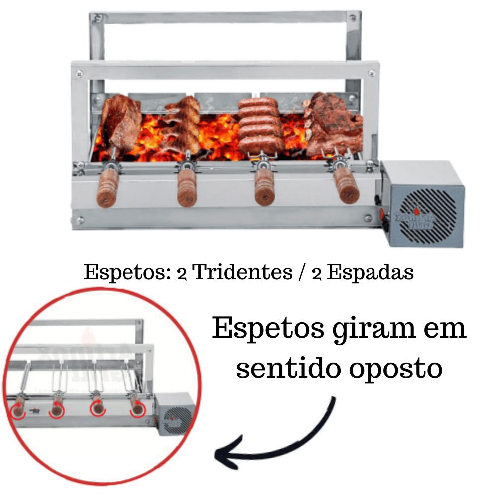 Churrasqueira Elétrica Giratória Inox 4 Espetos Cabo Madeira Mot Direito