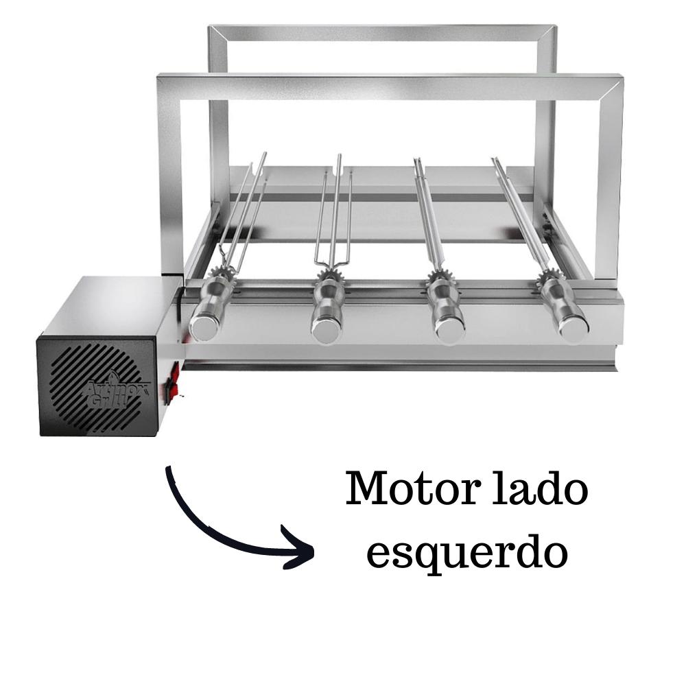 Churrasqueira Elétrica Giratória Inox 4 Espetos Modelo AG Mot Esquerdo