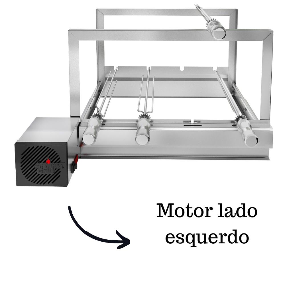 Churrasqueira Elétrica Giratória Inox 4 Espetos Modelo AG/R Mot Esquerdo