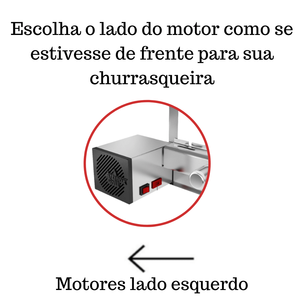 Churrasqueira Elétrica Giratória 4 Espetos Mod. AG Robust Mot Esquerdo