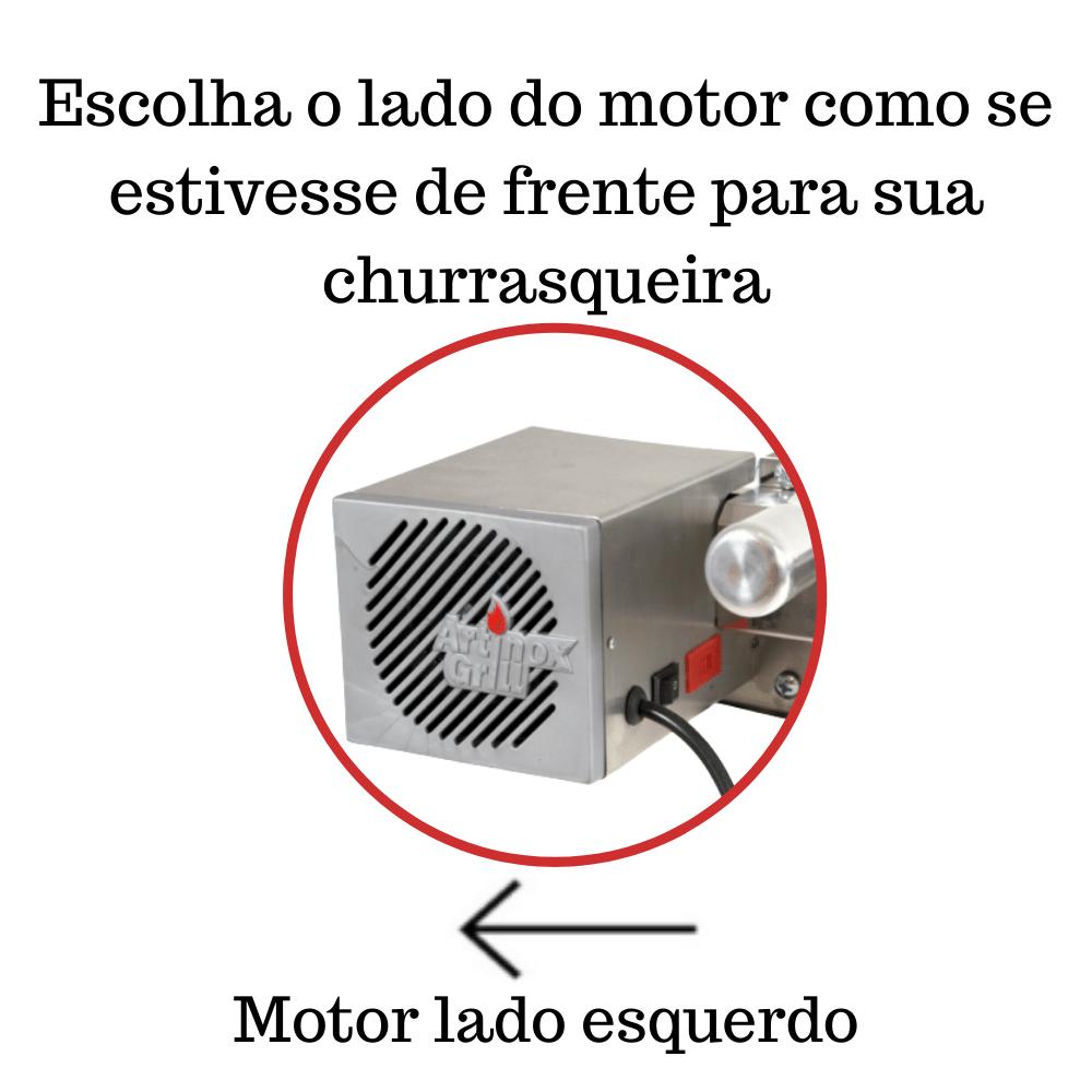 Kit Baixo Churrasqueira Elétrica Giratória 4 Espetos Mot Esquerdo