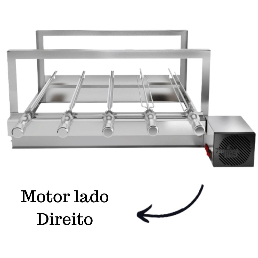 Churrasqueira Elétrica Giratória Inox 5 Espetos Modelo AG Mot Direito