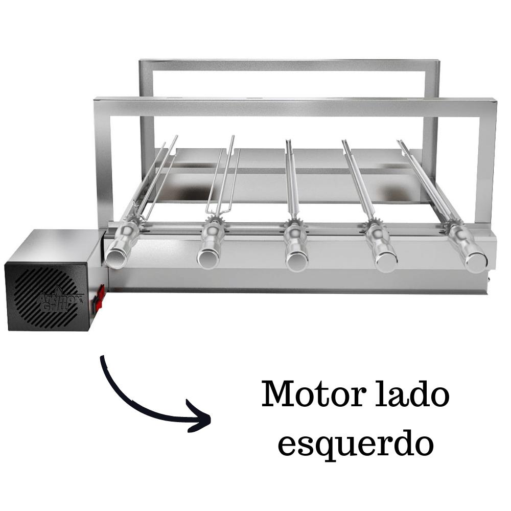 Churrasqueira Elétrica Giratória Inox 5 Espetos Modelo AG Mot Esquerdo