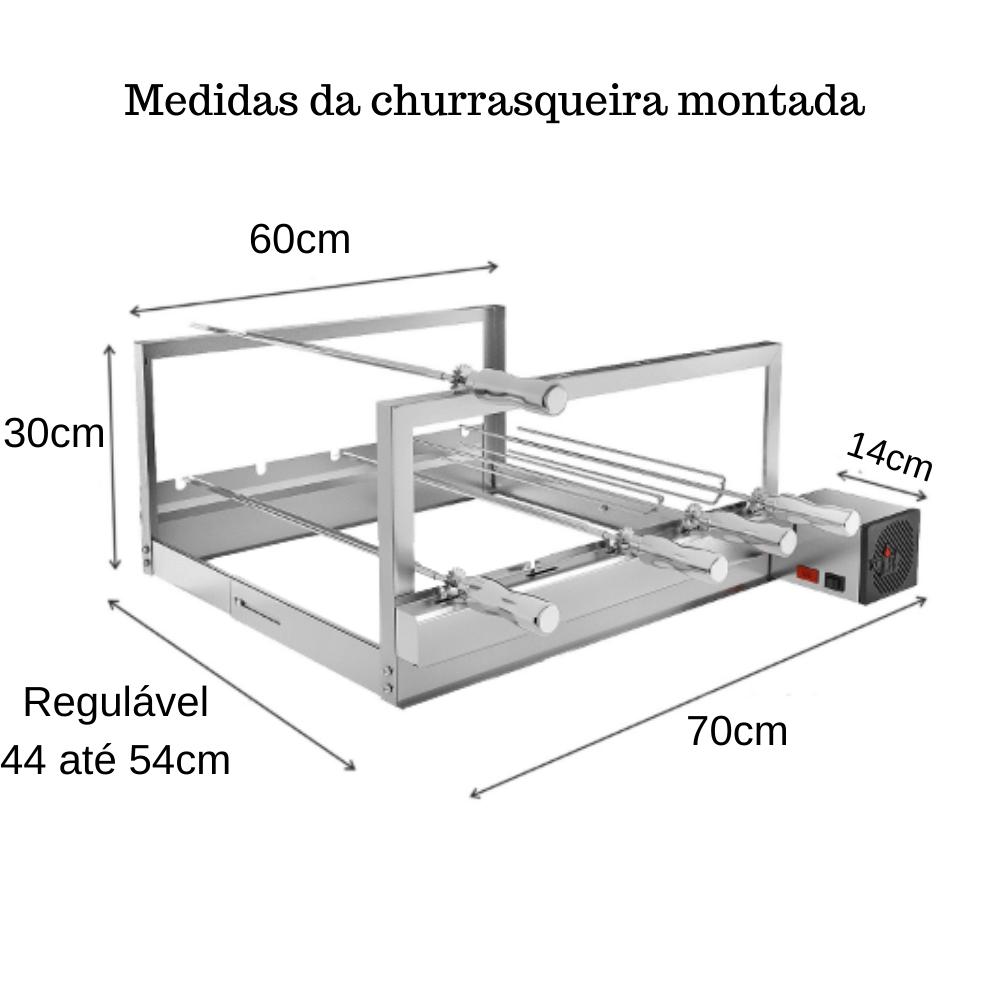 Churrasqueira Elétrica Giratória Inox 5 Espetos Modelo AG/R Mot Direito