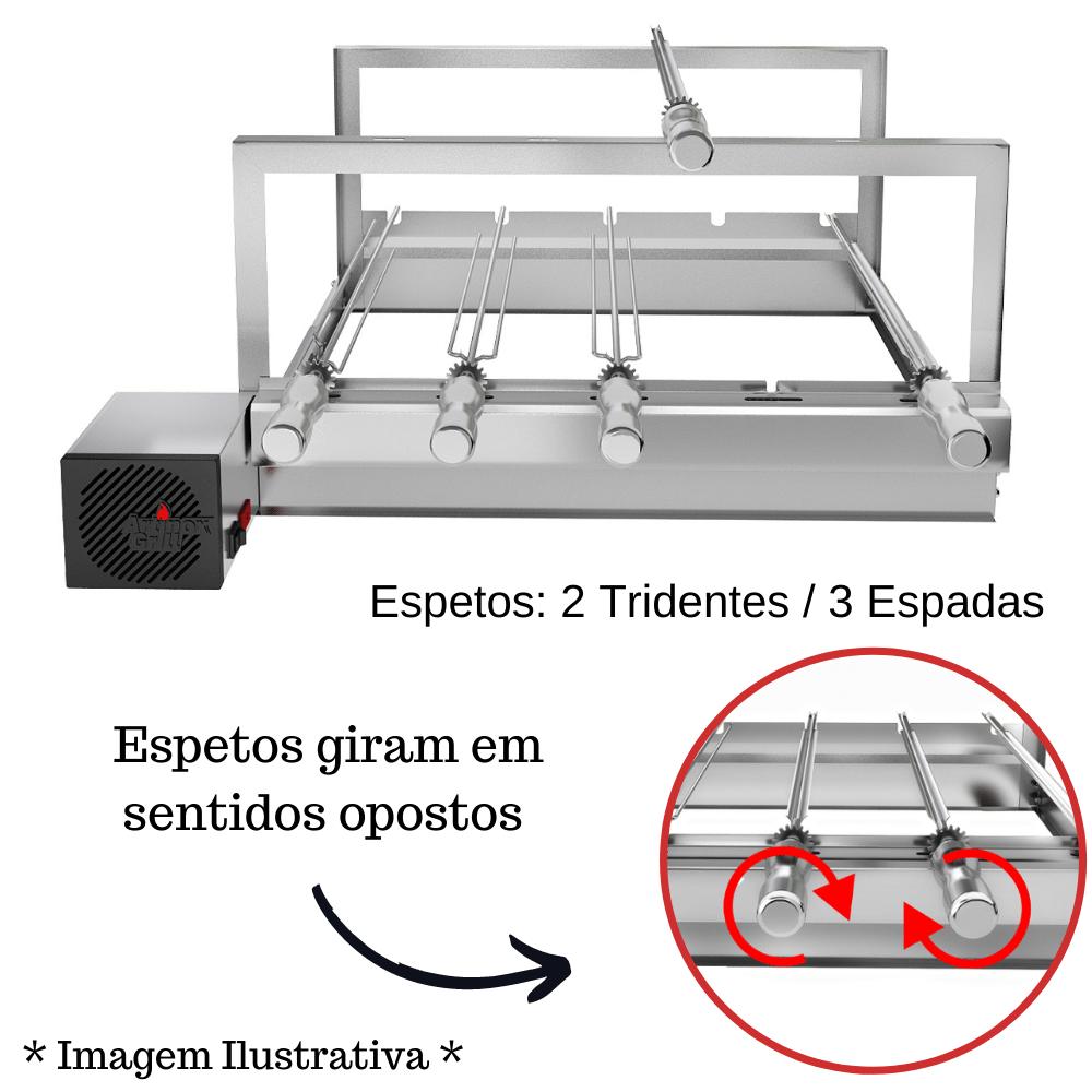 Churrasqueira Elétrica Giratória Inox 5 Espetos Modelo AG/R Mot Esquerdo