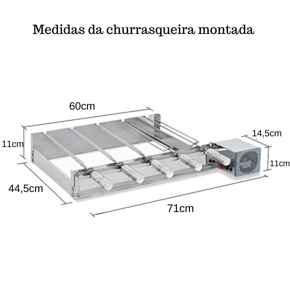 Kit Baixo Churrasqueira Elétrica Giratória 5 Espetos Mot Direito
