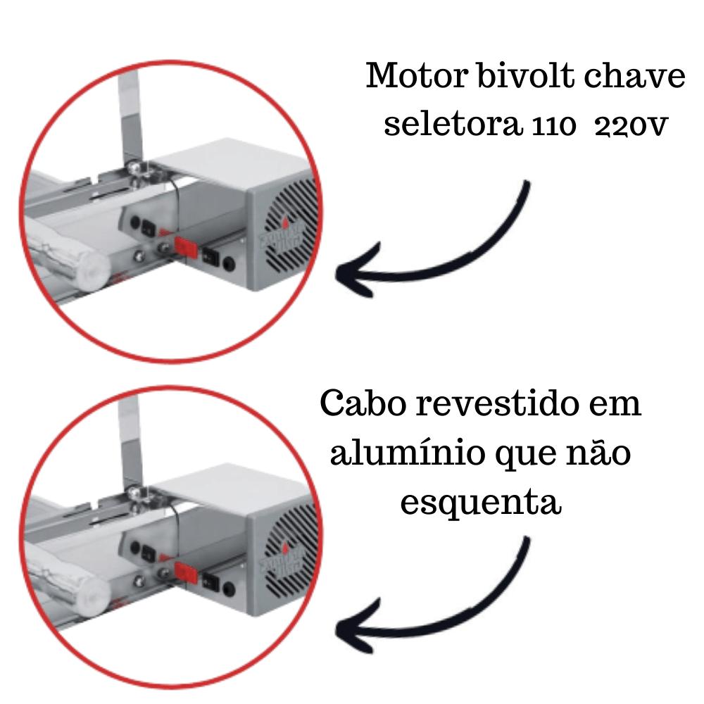 Churrasqueira Elétrica Giratória Inox 6 Espetos Cabo Alum Mot Direito