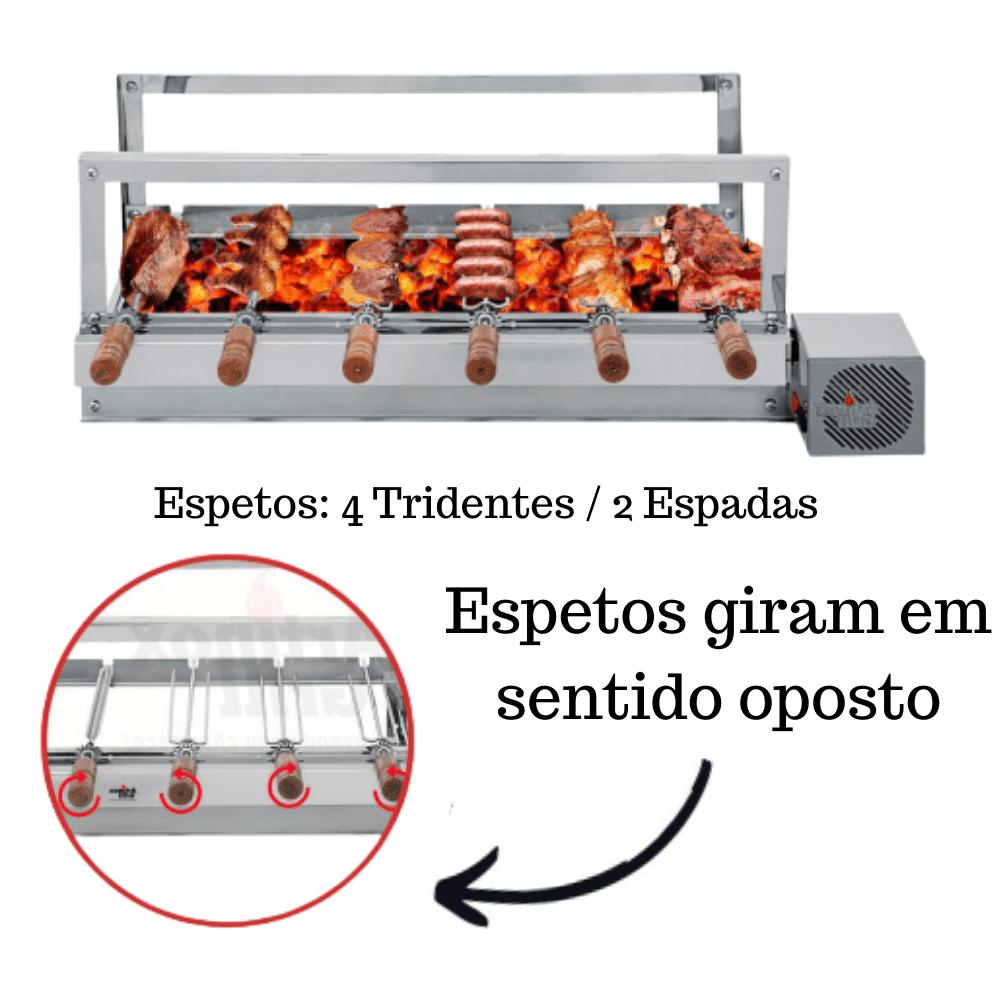 Churrasqueira Elétrica Giratória Inox 6 Espetos Cabo Madeira Mot Direito