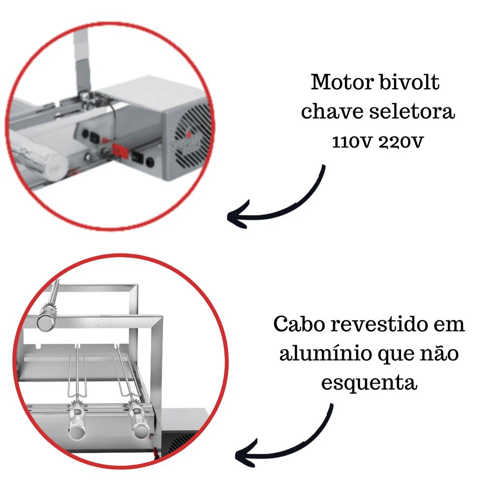 Churrasqueira Elétrica Giratória Inox 6 Espetos Modelo AG/R Mot Direito