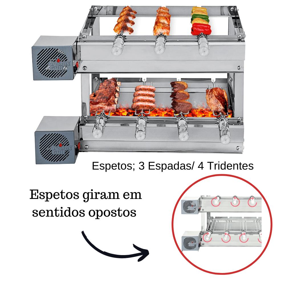 Churrasqueira Elétrica Giratória Inox 7 Espetos Modelo 2A Mot Esquerdo