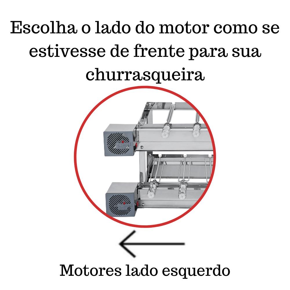 Churrasqueira Elétrica Giratória Inox 9 Espetos Modelo 2A Mot Esquerdo