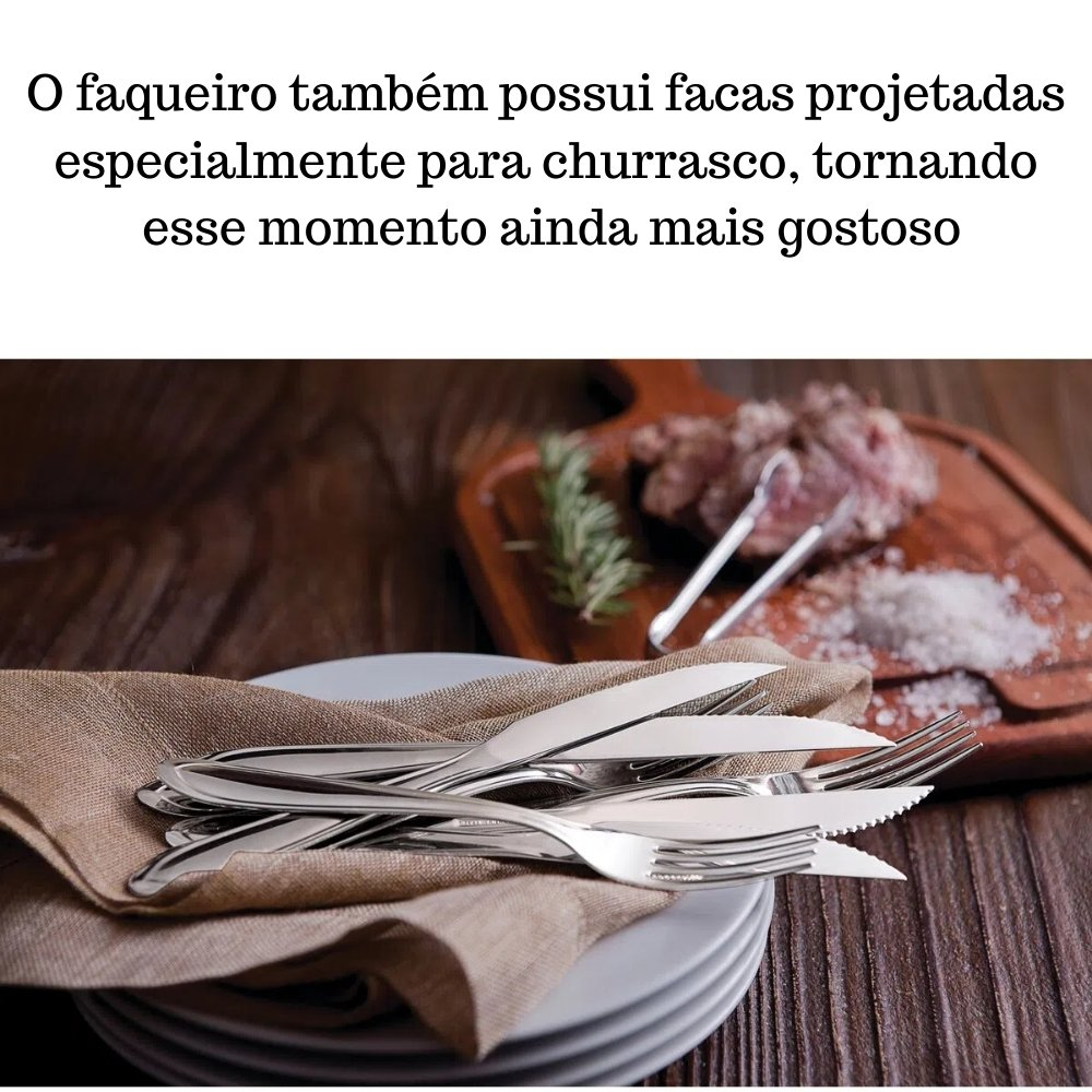 FAQUEIRO TRAMONTINA LAGUNA PARA CHURRASCO EM AÇO INOX LISO 36 PEÇAS