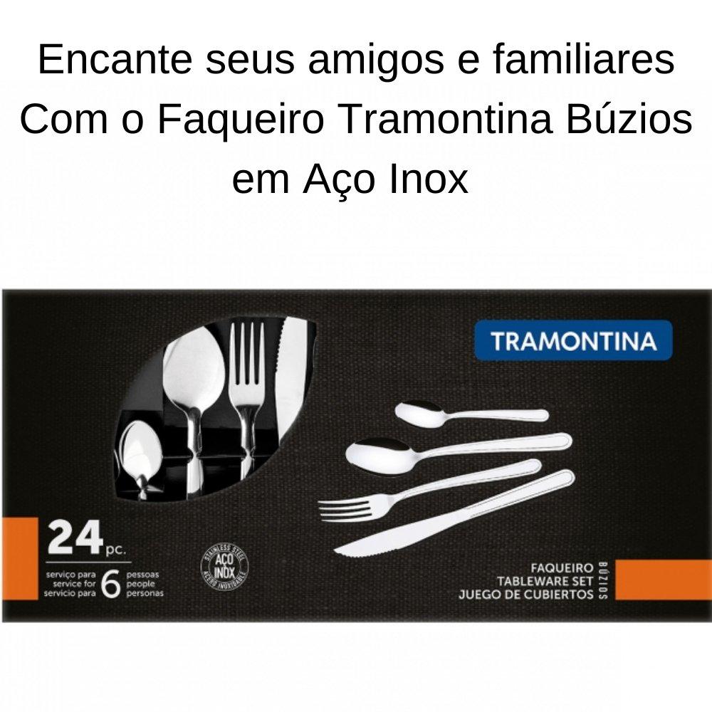FAQUEIRO TRAMONTINA BUZIOS EM AÇO INOX COM DETALHE 24 PEÇAS