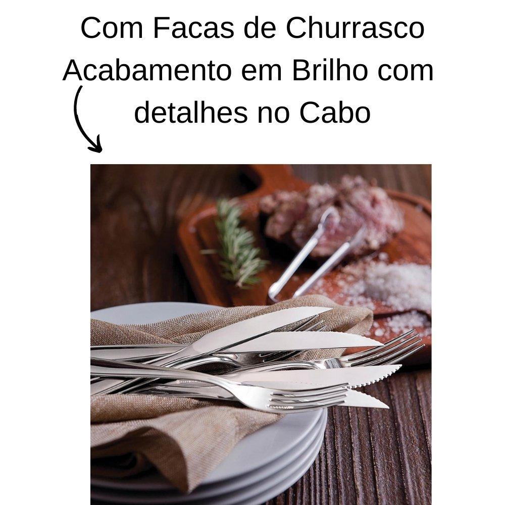 FAQUEIRO TRAMONTINA LAGUNA EM AÇO INOX COM FACAS DE CHURRASCO ACABAMENTO EM BRILHO COM DETALHES NO CABO 91 PEÇAS