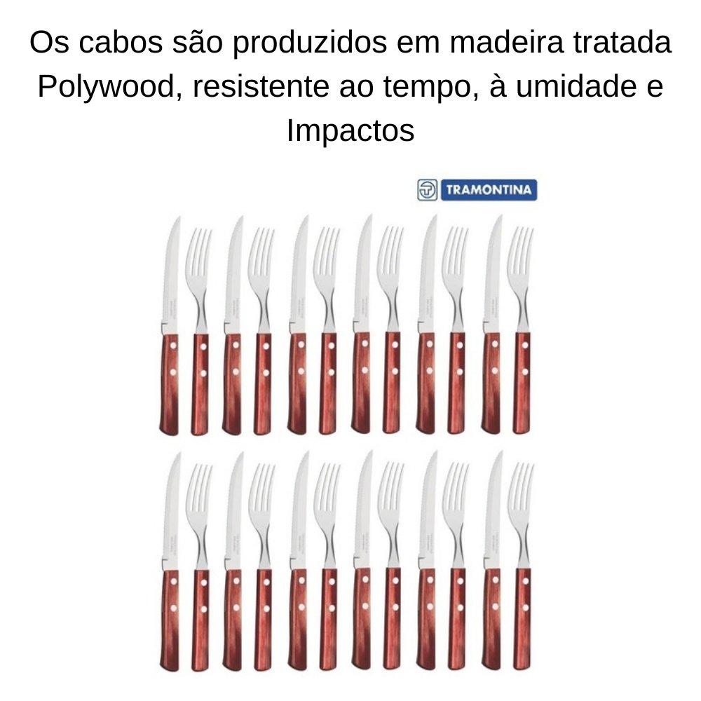 FAQUEIRO TRAMONTINA POLYWOOD COM LÂMINAS AÇO INOX E CABO DE MADEIRA VERMELHO 24 PEÇAS