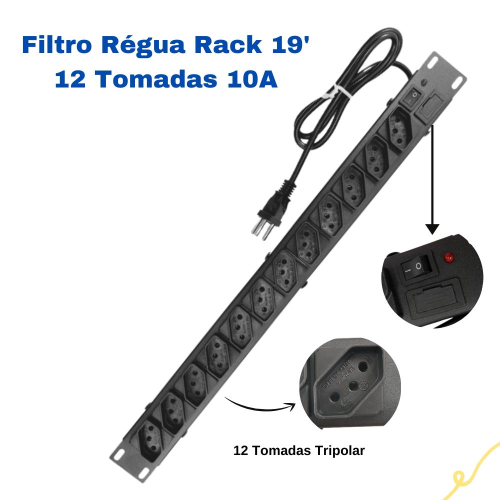 Filtro De Linha Régua 12 Tomadas Bivolt Para Rack 19