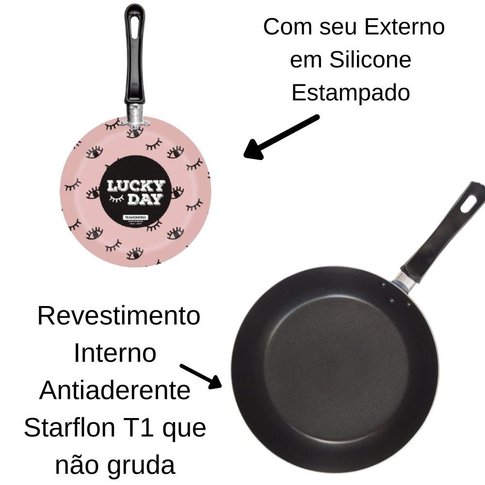 FRIGIDEIRA EM ALUMINIO ANTIADERENTE STARFLON T1 E EXTERNO EM SILICONE ESTAMPADO VIVACOR ROSA 24 CM