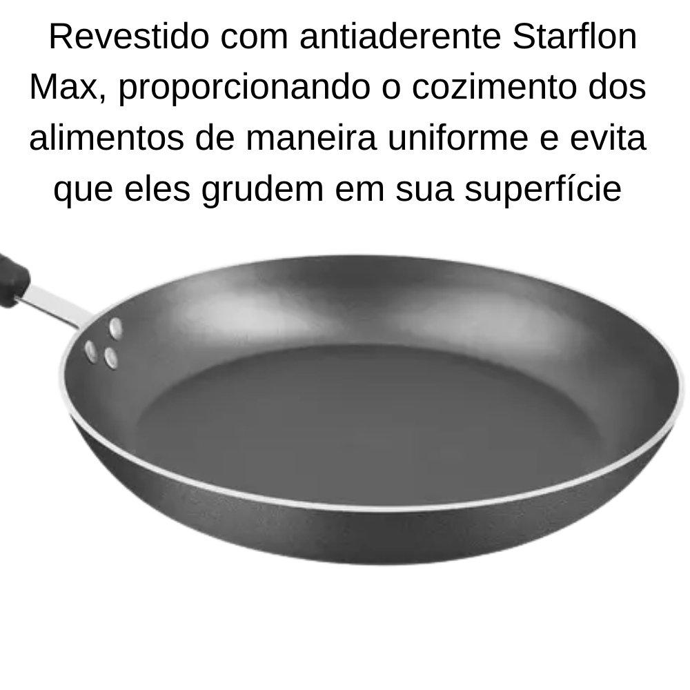 FRIGIDEIRA NAPOLI EM ALUMÍNIO ANTIADERENTE STARFLON MAX GRAFITE 32 CM 3,1 L