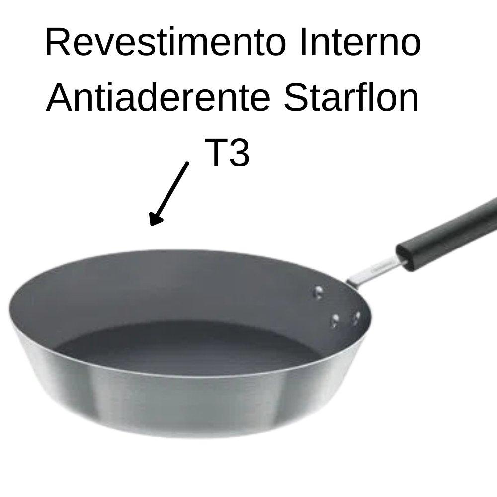 FRIGIDEIRA PROFISSIONAL EM ALUMINIO ACABAMENTO EXTERNO LIXADO ANTIADERENTE STARFLON T3 CABO BAQUELITE 28 CM 3,2 L