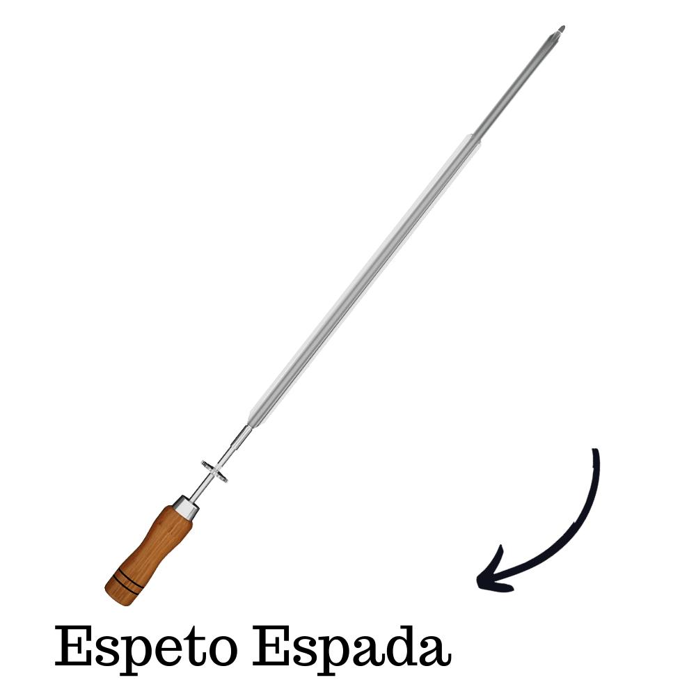 Espeto Espada Inox 65CM Cabo Em Madeira