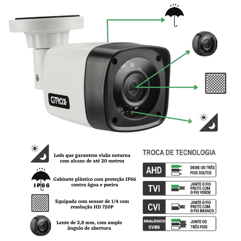 Kit 2 Câmeras de Segurança Bullet 4X1 1.0MP Citrox 720MP
