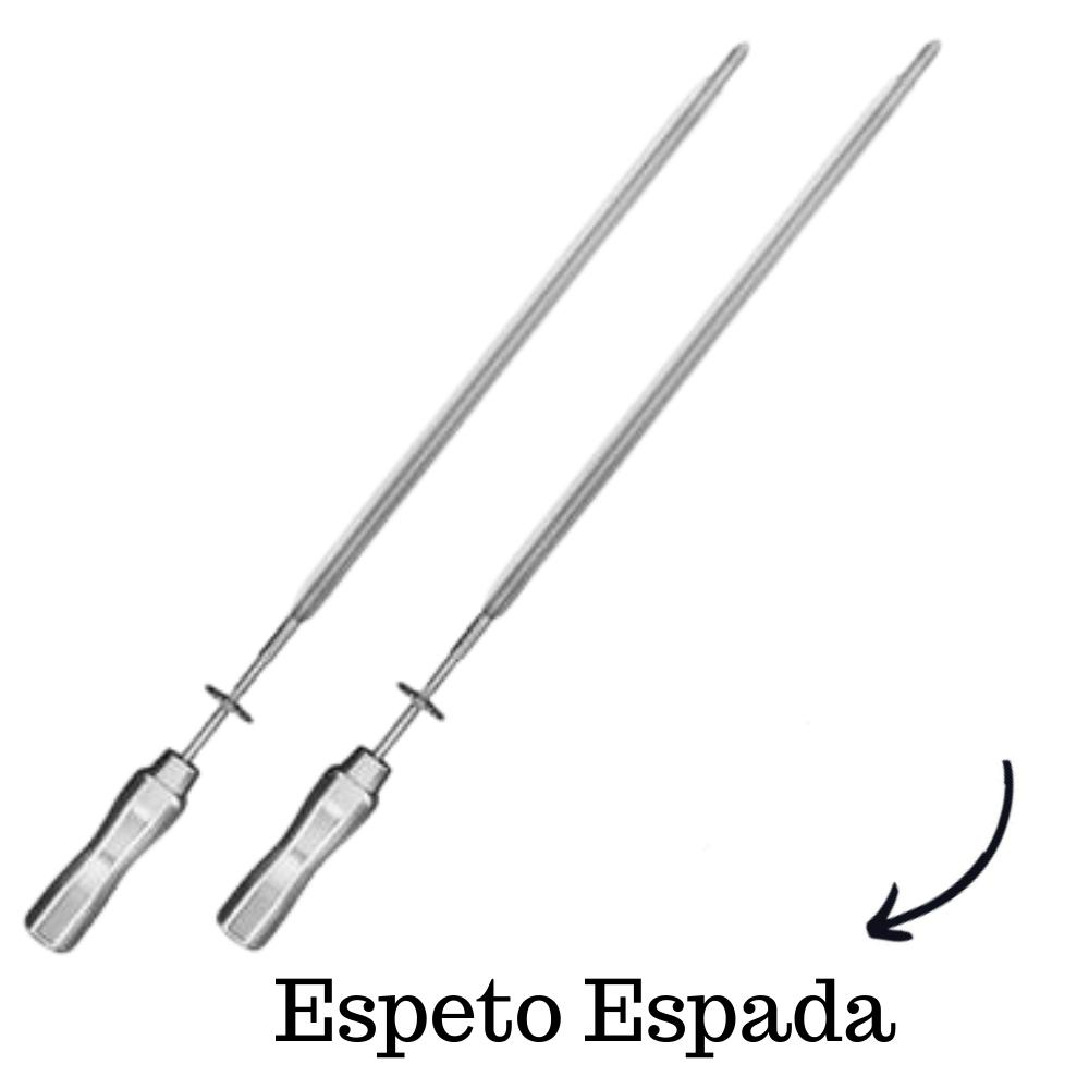 kit 2 Espeto Espada Inox 65CM Cabo em Alumínio