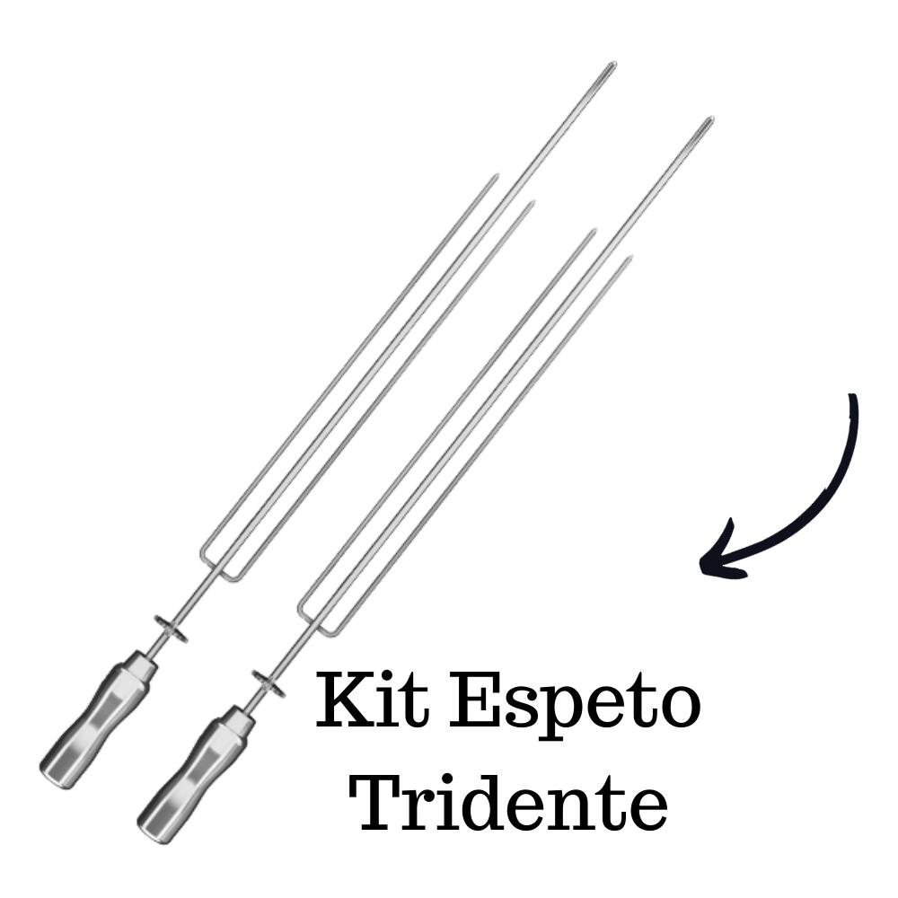 kit 2 Espeto Tridente Inox 65CM Cabo Em Alumínio