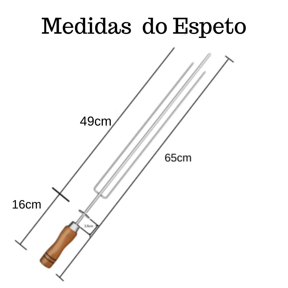 kit 2 Espeto Tridente Inox 65CM Cabo Em Madeira