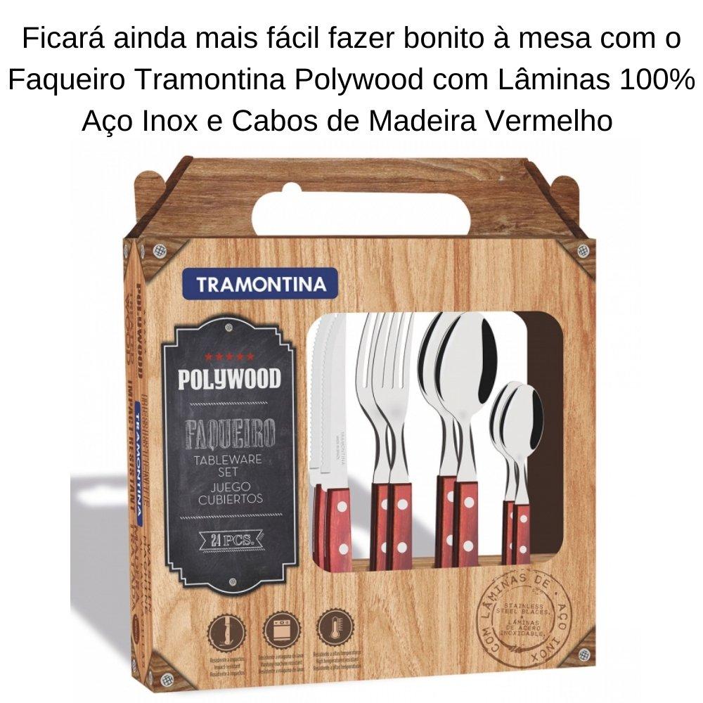 KIT 2 FAQUEIROS TRAMONTINA POLYWOOD COM LÂMINAS AÇO INOX E CABO DE MADEIRA VERMELHO 48 PEÇAS