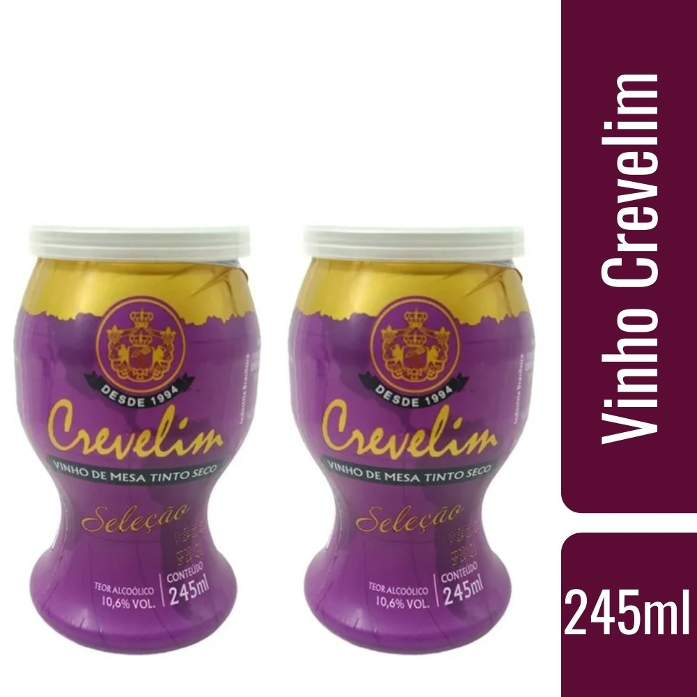 Kit 2 Mini Vinhos Crevelim tinto seco 245ml