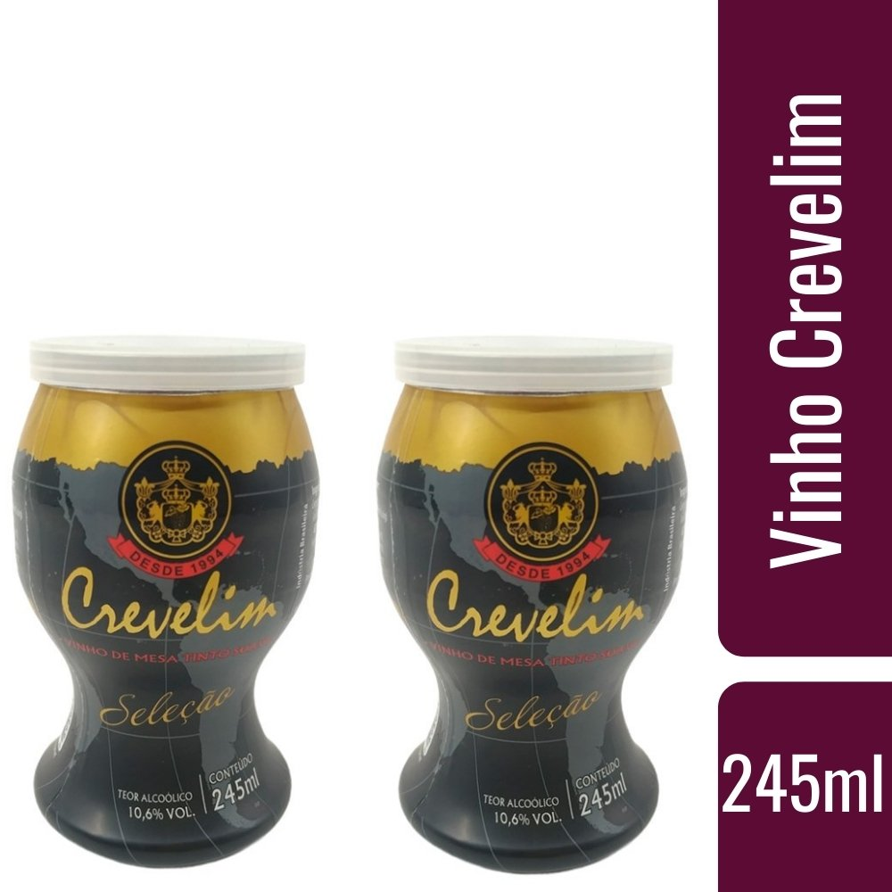 Kit 2 Mini Vinhos Crevelim Tinto Suave 245ml