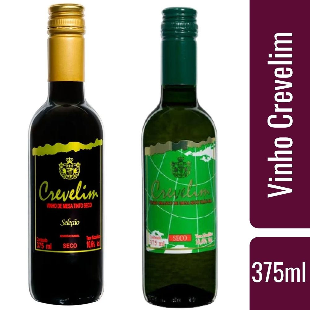 Kit 2  Vinhos De Mesa Crevelim 1 tinto seco e 1 branco Seco Niágara 375ml