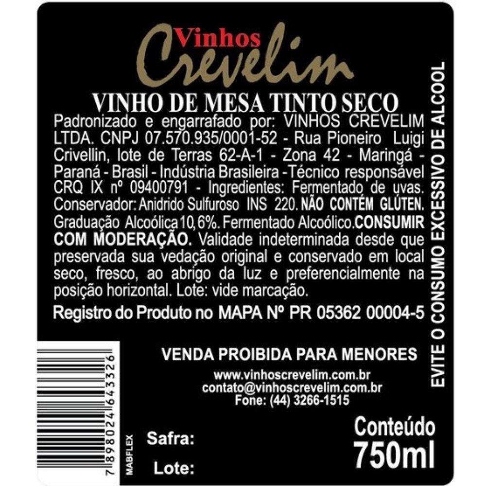Kit 2  Vinhos De Mesa Crevelim 1 tinto seco e 1 branco Seco Niágara 750ml