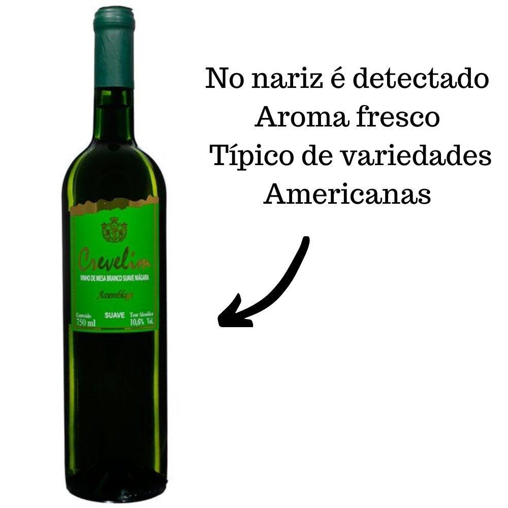 Kit 2 Vinhos De Mesa Crevelim Branco 1 Suave e 1 seco  Niágara 750ml