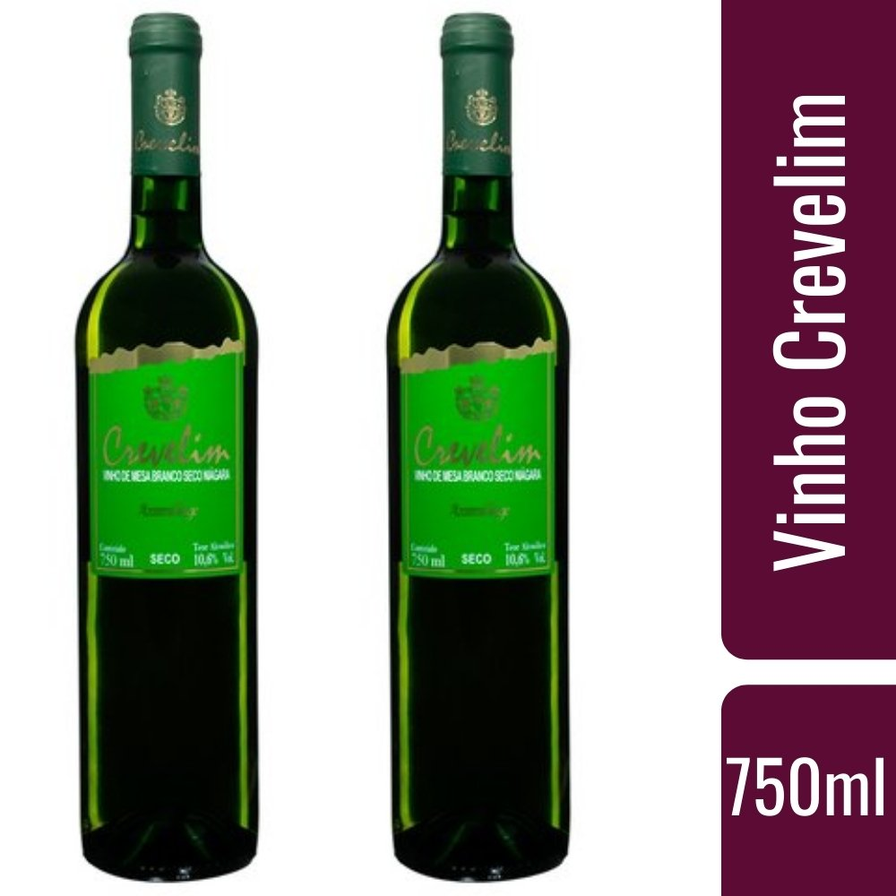 Kit 2 Vinhos De Mesa Crevelim Branco Seco Niágara 750ml